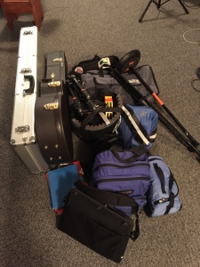 Everything packed for a weekend recording in BG.