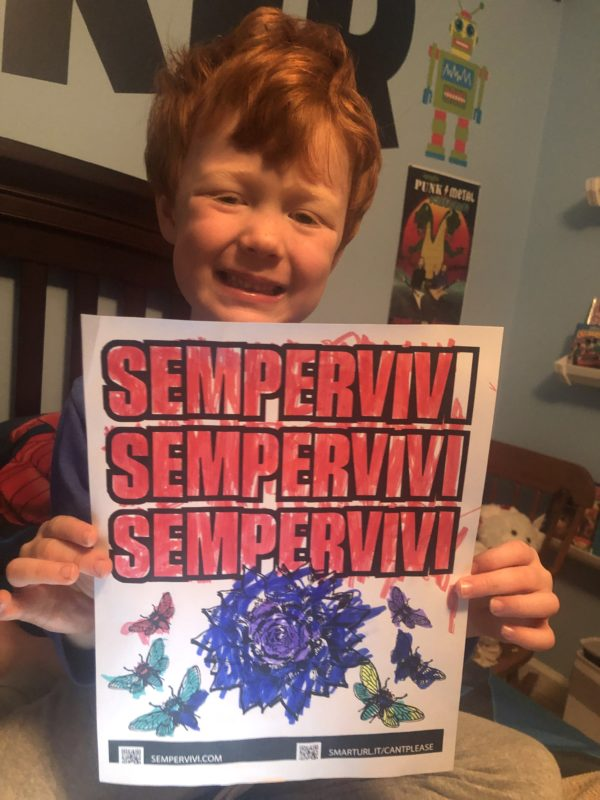 Cute kid holding Sempervivi coloring page