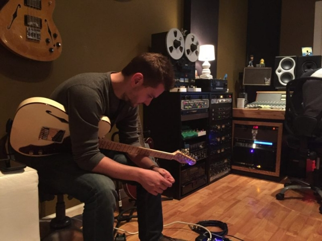 Perry, waiting his turn to track with this Fender Deluxe Tele.