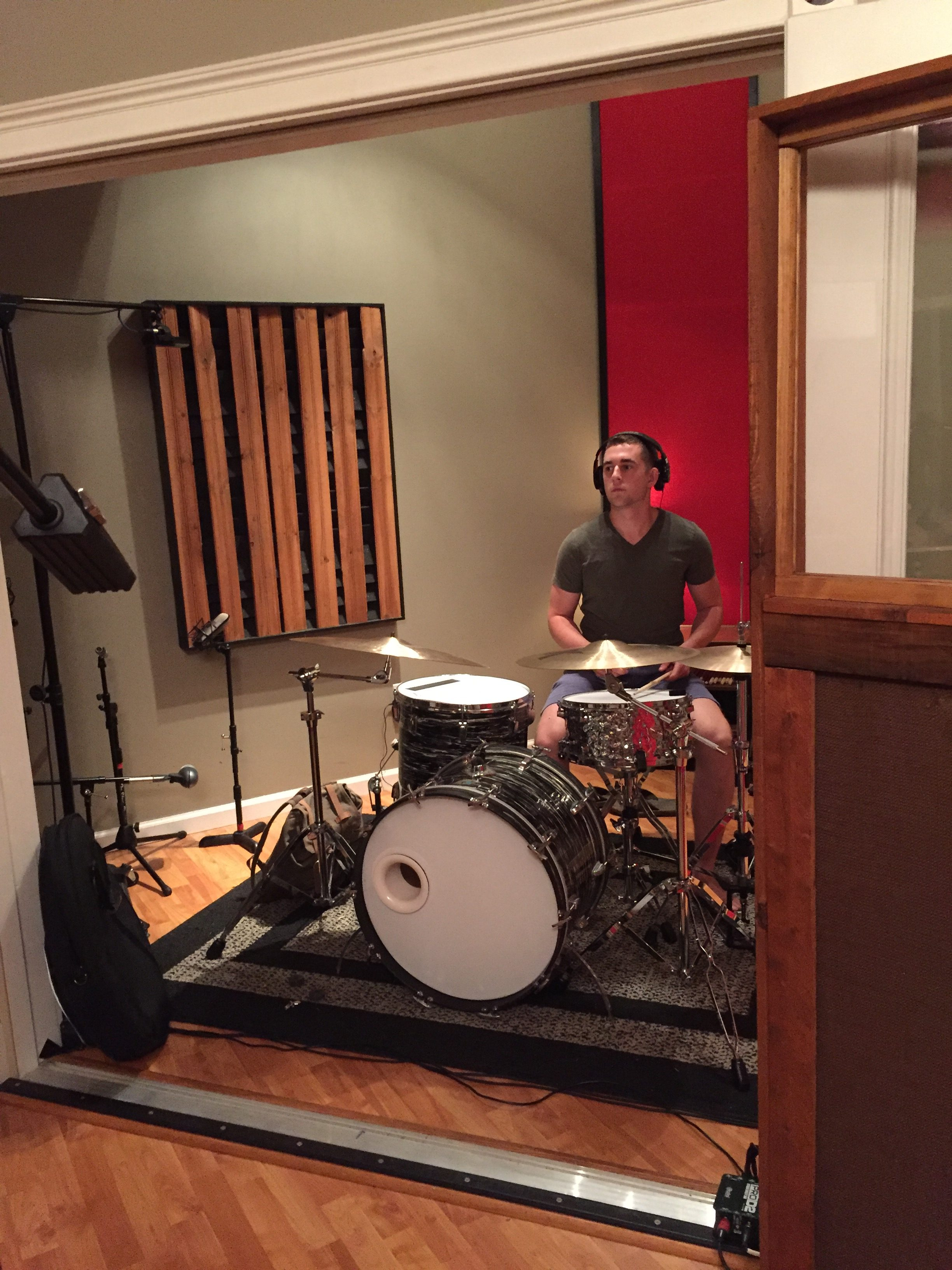 Rob, sound checking his drum kit.