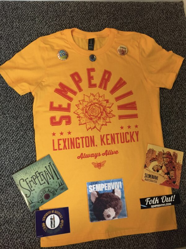 Combo bundle: Shirt, buttons, stickers, CDs